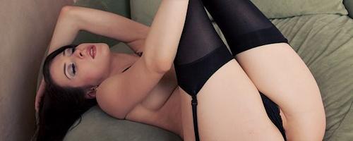 Aiden Ashley – Black stockings & garters
