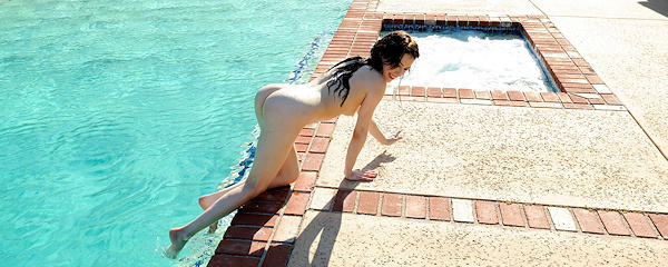 Aiden Ashley in the pool