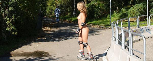 Alena rollerblading naked
