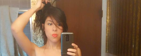 Amateur brunette mirror selfshot