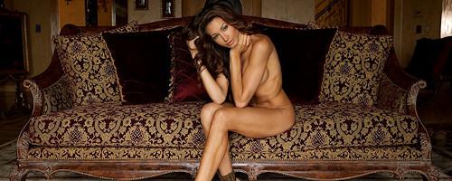 Angela Taylor nude on antique sofa