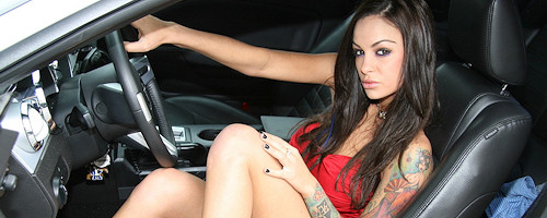 Angelina Valentine and Mustang GT