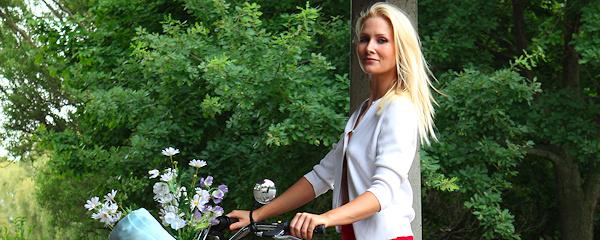 Ashley Perry riding a bike