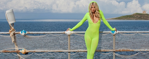 Bexie Williams in bright green bodystocking