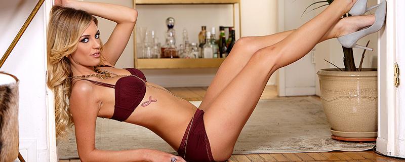 Blake Eden – Burgundy lingerie & high heels