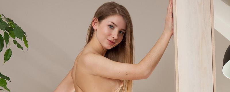 Briana in white lingerie