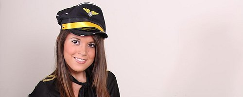 Brittany Marie in pilot dress