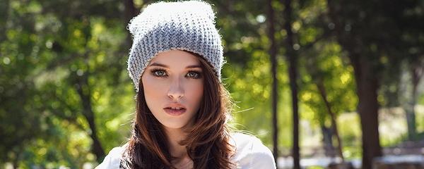 Caitlin McSwain in woolen beanie