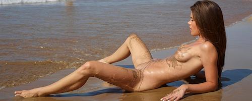 Caprice on the nudist beach