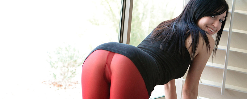 Catie Minx in red pantyhose