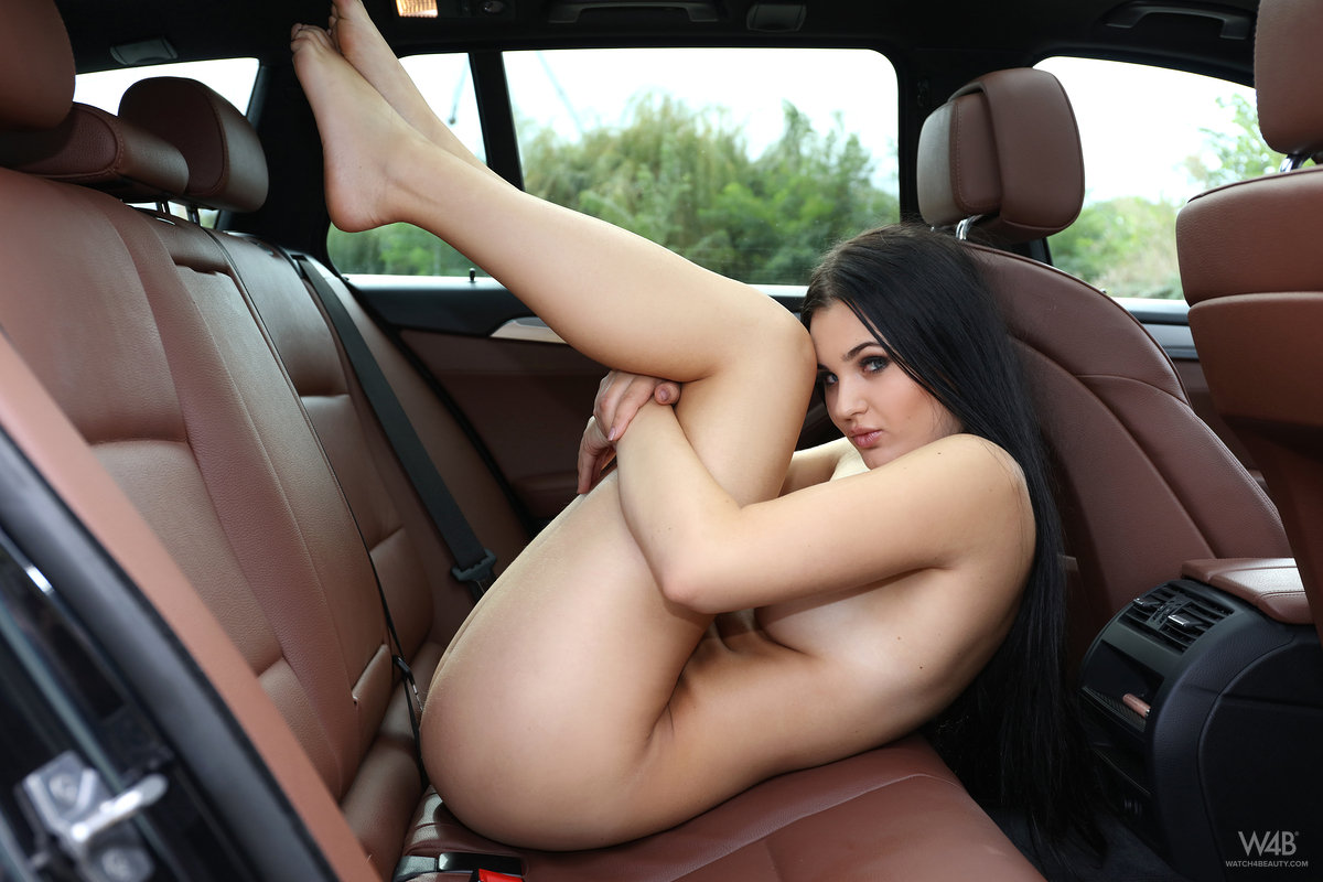 Nude girl in backseat of car consider