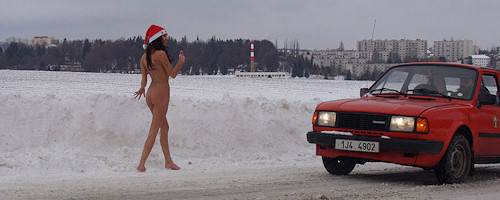 Christmas nude in public