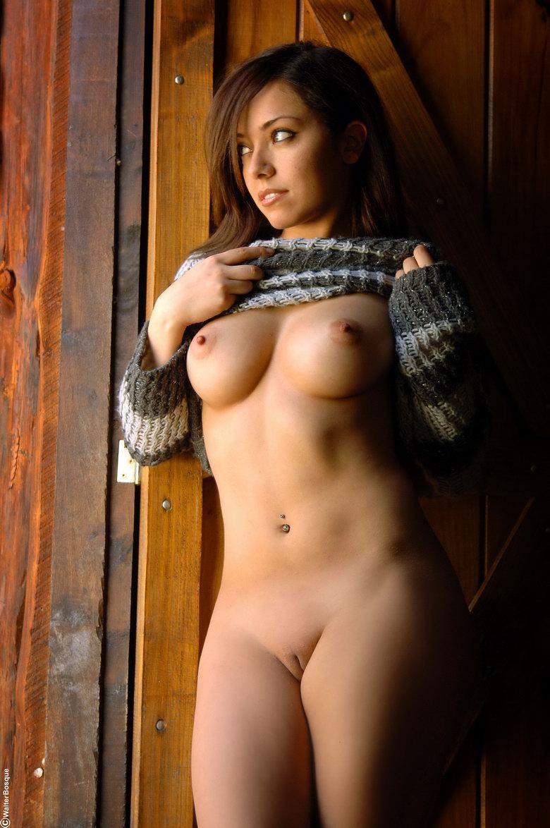 sweater Brunette naked in