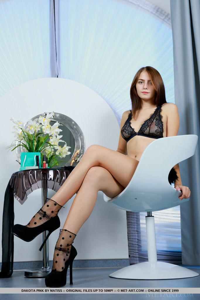 dakota-pink-boobs-black-lingerie-high-heels-metart-01