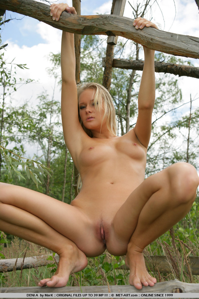 Women nude in deer blind