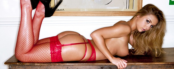 Dionne Daniels in red lingerie & stockings