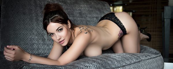 Elizabeth Marxs on the sofa