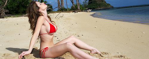 Emily Addison in red bikini