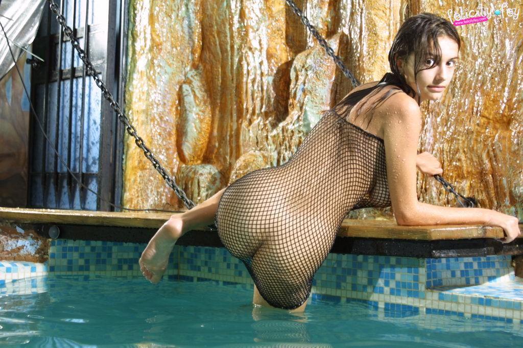 Felicity fey fishnet wet indoor pool 15 RedBust