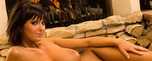 Gabrielle by the fireplace