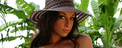 Gemma Newman in straw hat