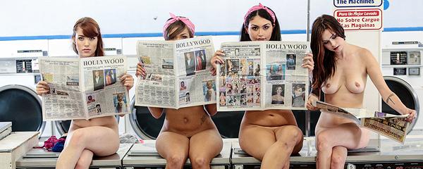 Girls doing laundry naked