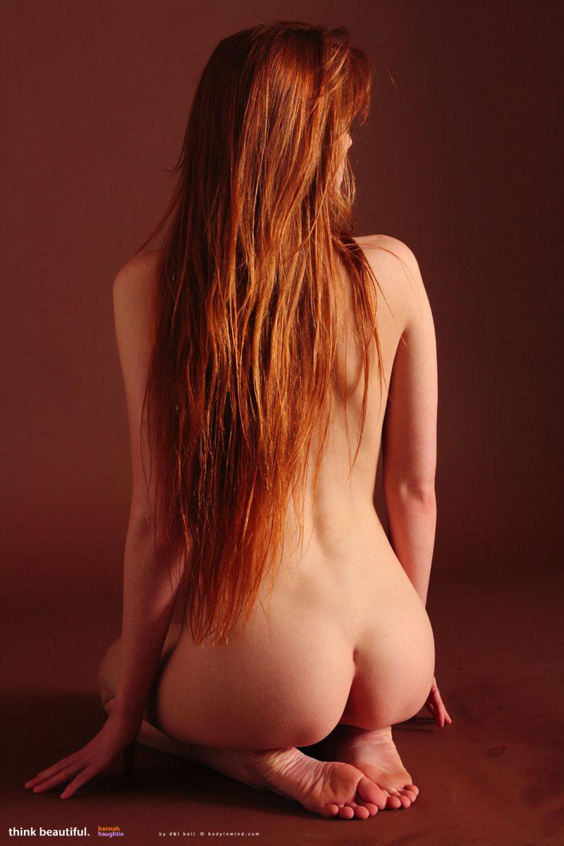 redhead nude high heels