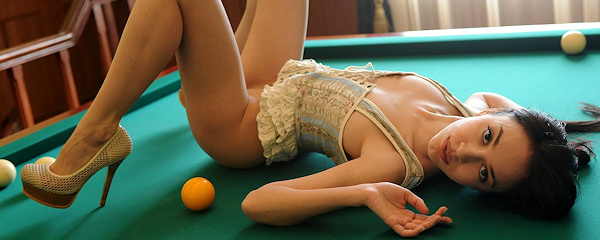 Helen playing billiards