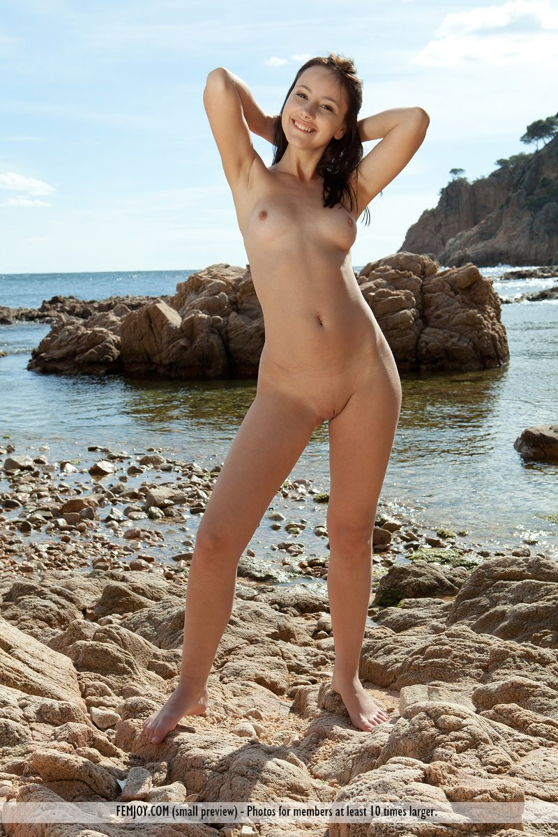 On standing nude the beach girl