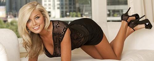 Katie Rivers in black dress