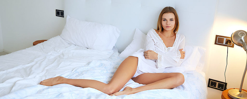 Katy Jones in bedroom