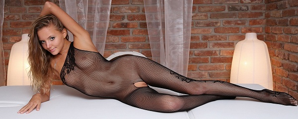 Katya Clover in bodystocking