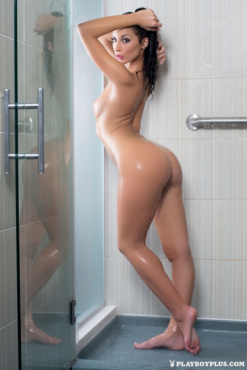 naked blonde in shower