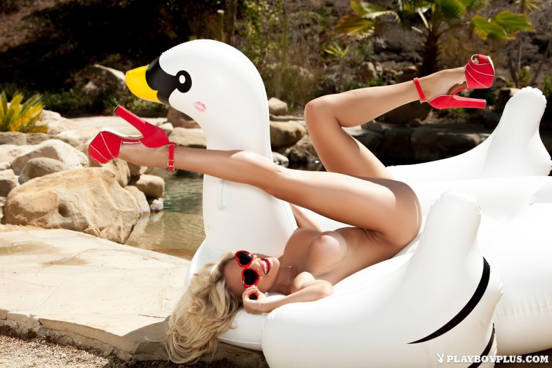 khloe-terae-nude-inflatable-swan-playboy-17