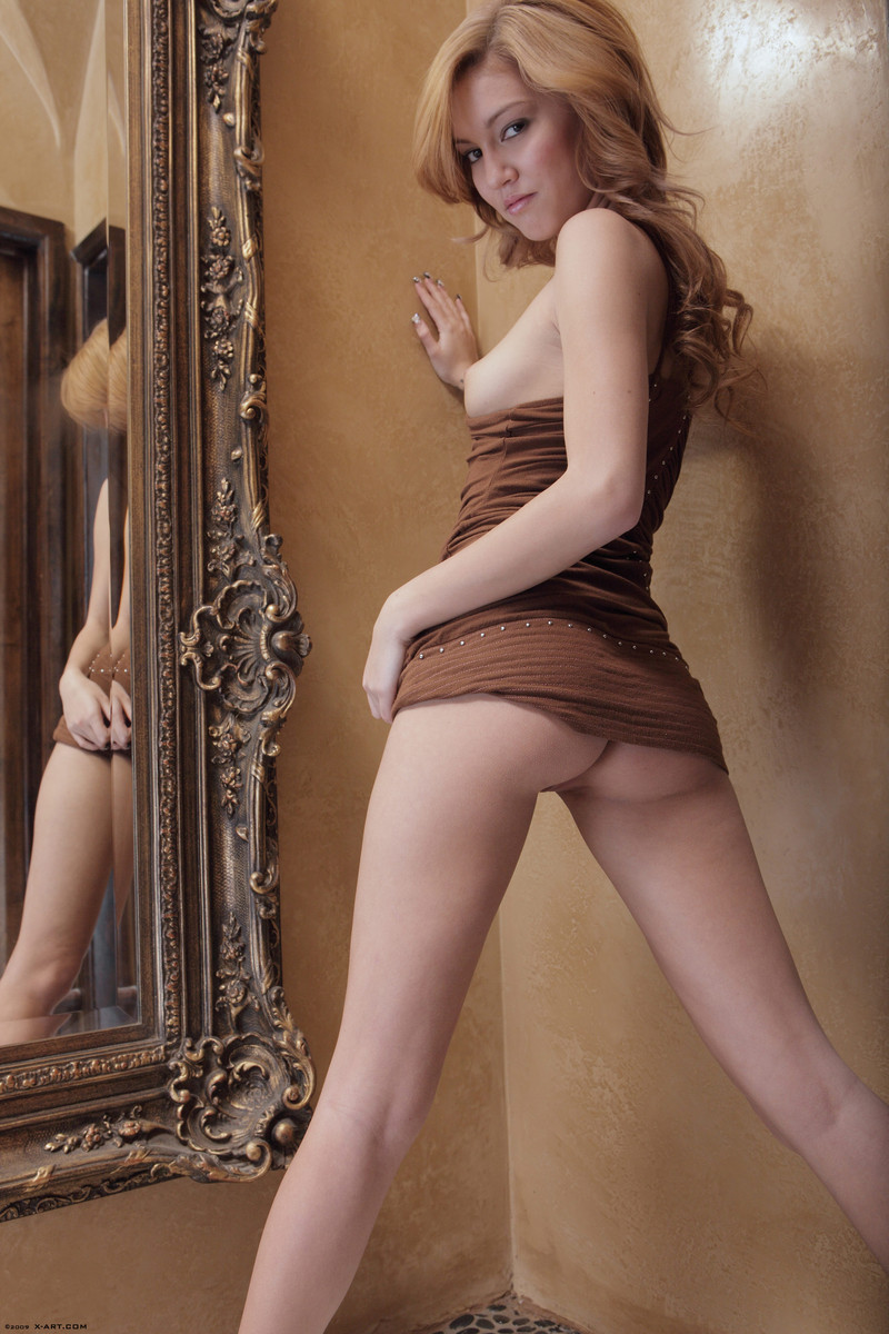 kato-naked-brown-dress-mirror-skinny-x-art-11