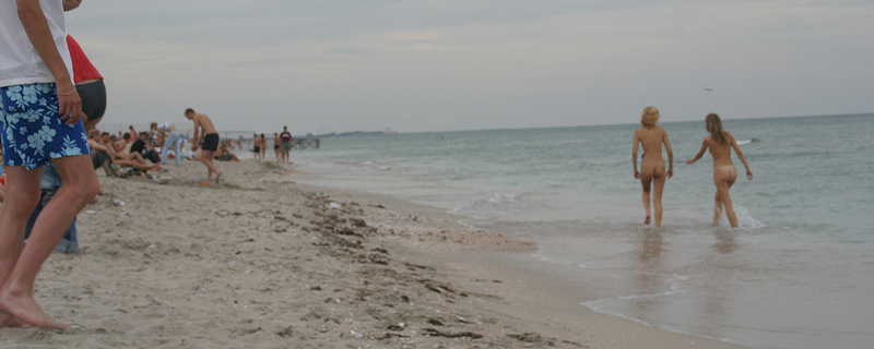 Lena & Vika nude on public beach