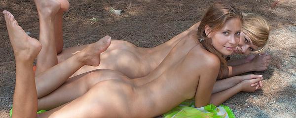 Lidija & Paloma naked on the hill