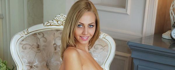 Lija in white lingerie