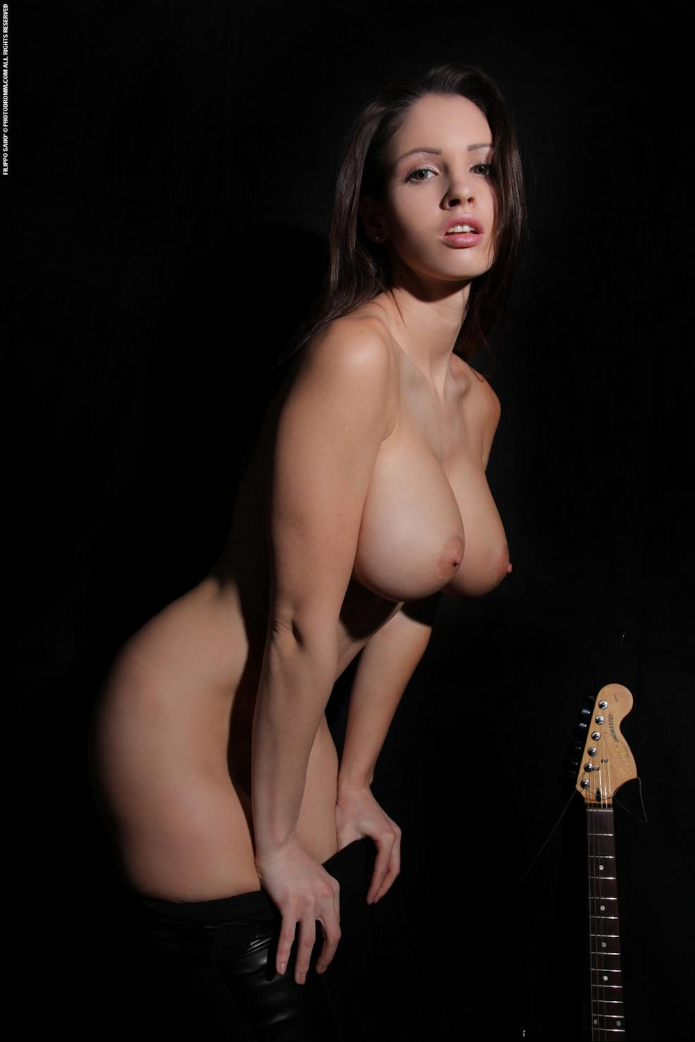 naked tits with guitar