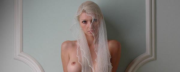 Maria in white veil