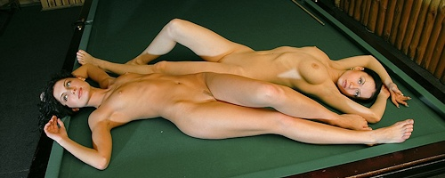 Marliece & Julie on pool table