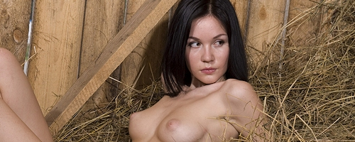 Marsha naked in barn