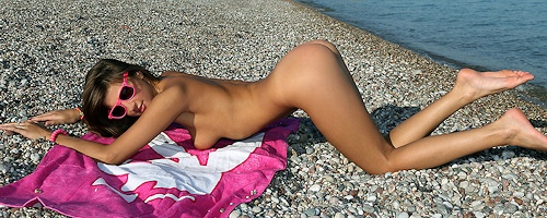 Melena on the beach