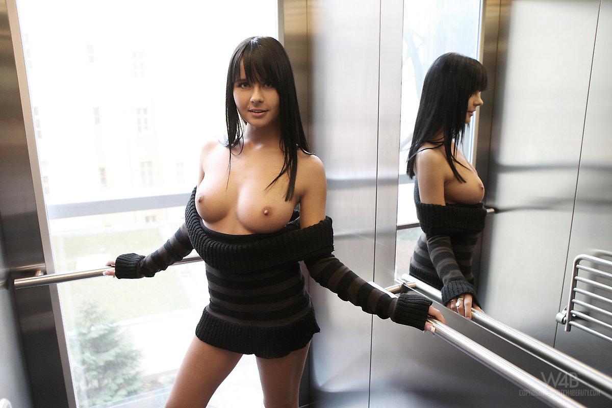 nude Naked elevator girls