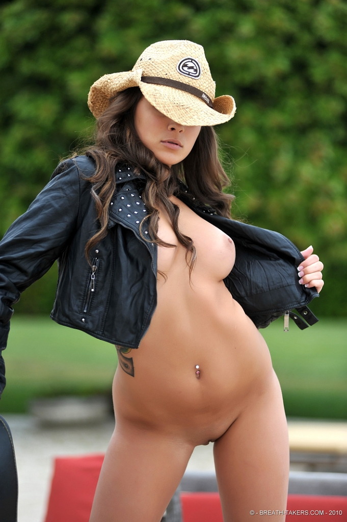 image Cowgirl party amateur girl plays with her pussy