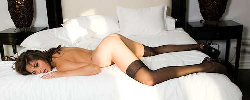 Nina James in black stockings