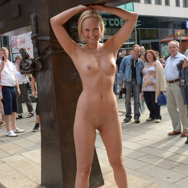 Nude public outdoor shower