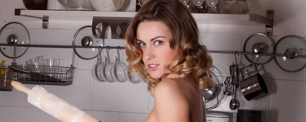 Olga Alberti cooking in the kitchen
