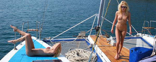Olga & Oxana on catamaran