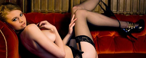 Oriana in black lingerie and stockings